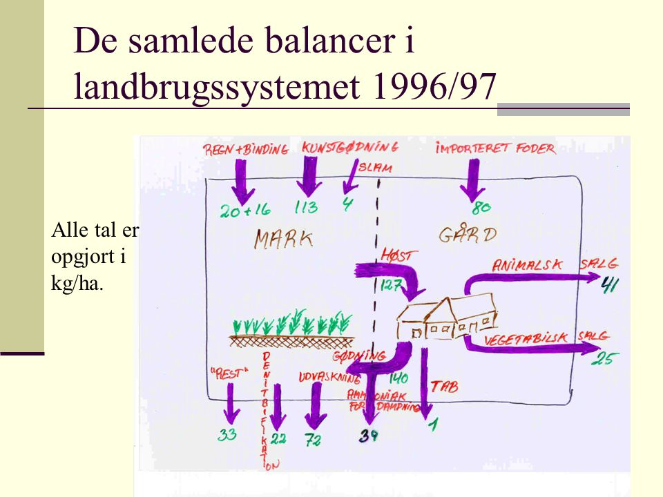 De samlede balancer i landbrugssystemet 1996/97