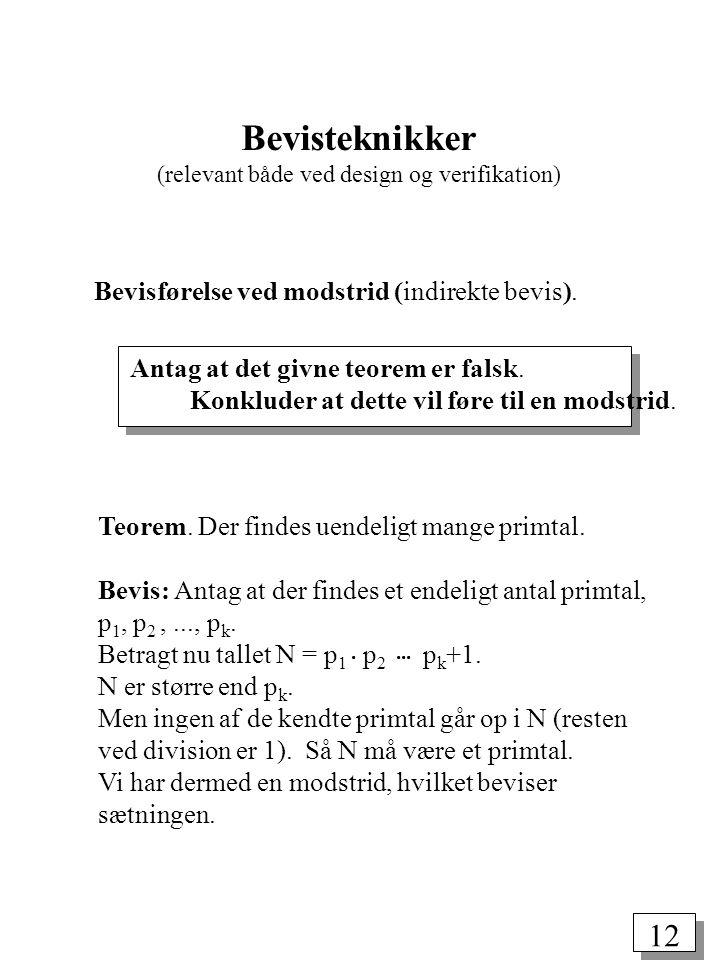 Bevisteknikker (relevant både ved design og verifikation)
