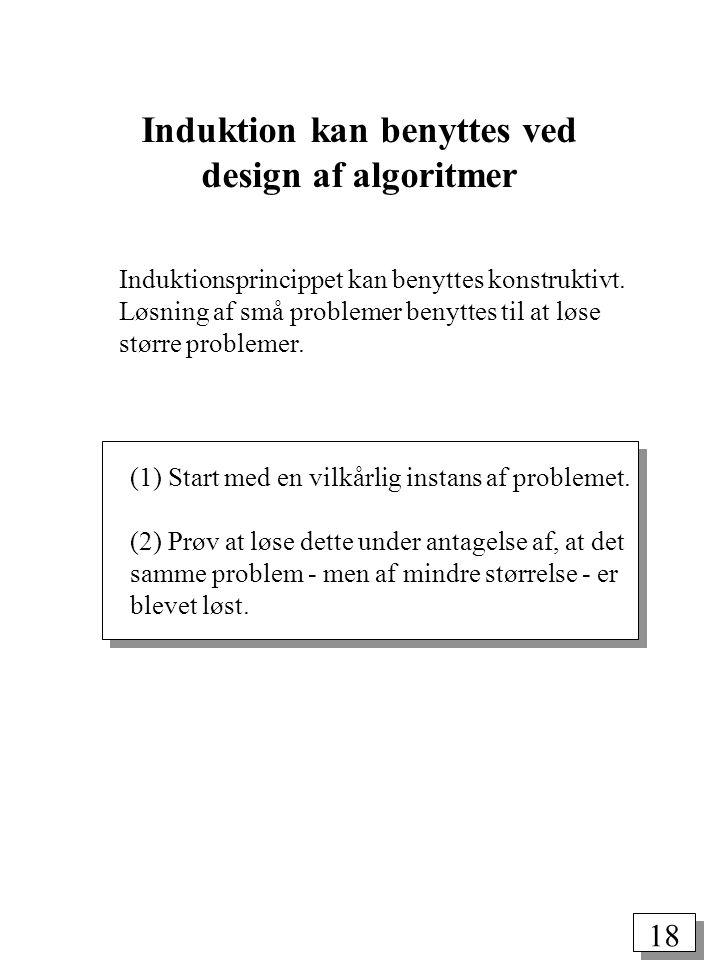 Induktion kan benyttes ved design af algoritmer