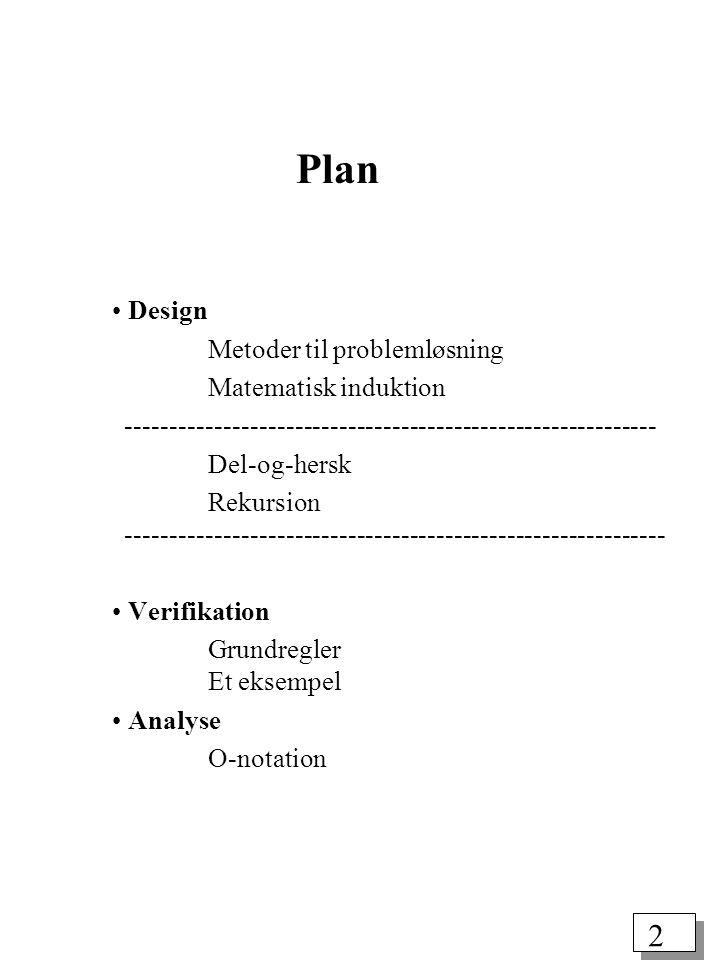 Plan Design Metoder til problemløsning Matematisk induktion