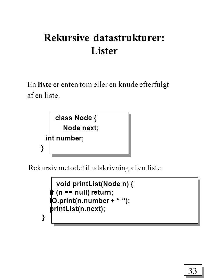 Rekursive datastrukturer: Lister