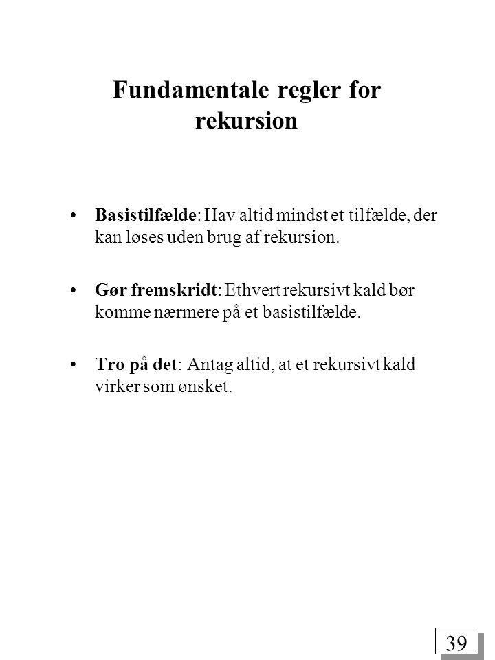 Fundamentale regler for rekursion