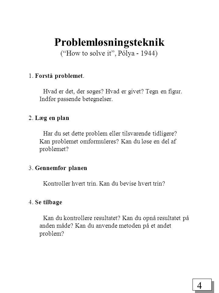Problemløsningsteknik ( How to solve it , Pólya - 1944)