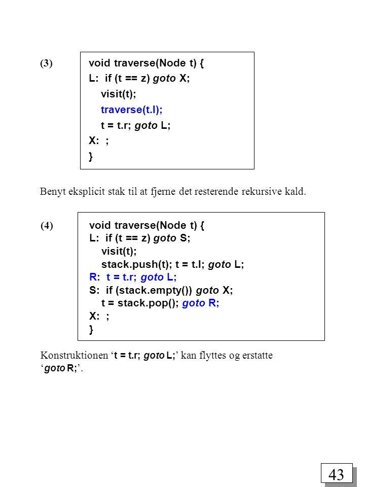 (3) void traverse(Node t) {