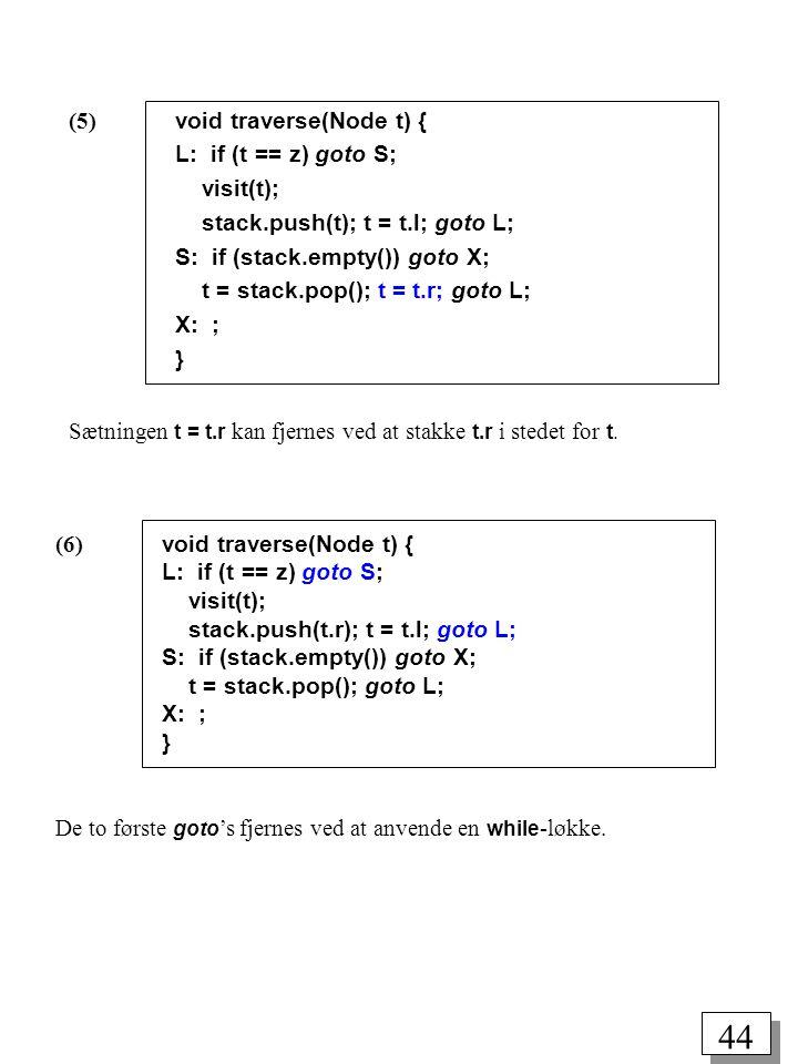 (5) void traverse(Node t) {
