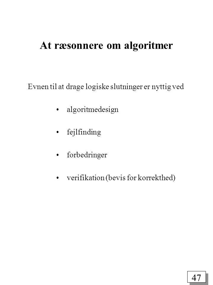 At ræsonnere om algoritmer