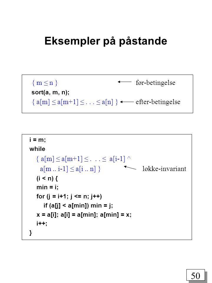 Eksempler på påstande { m ≤ n } før-betingelse