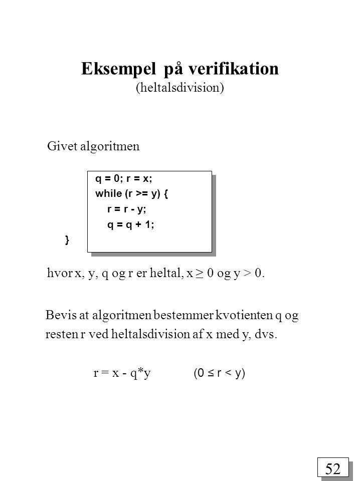 Eksempel på verifikation (heltalsdivision)