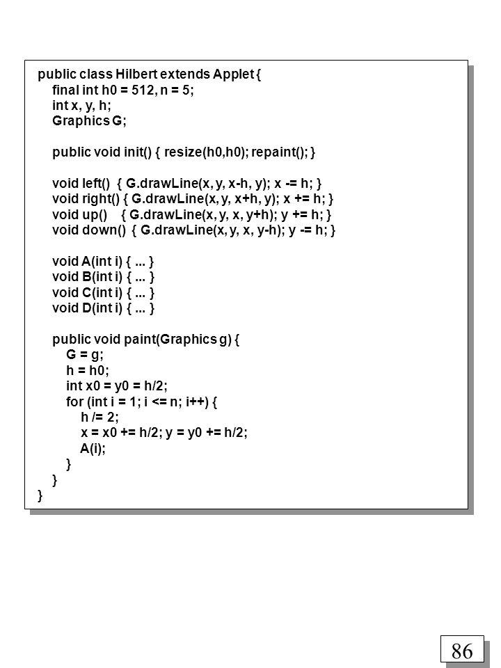 public class Hilbert extends Applet {