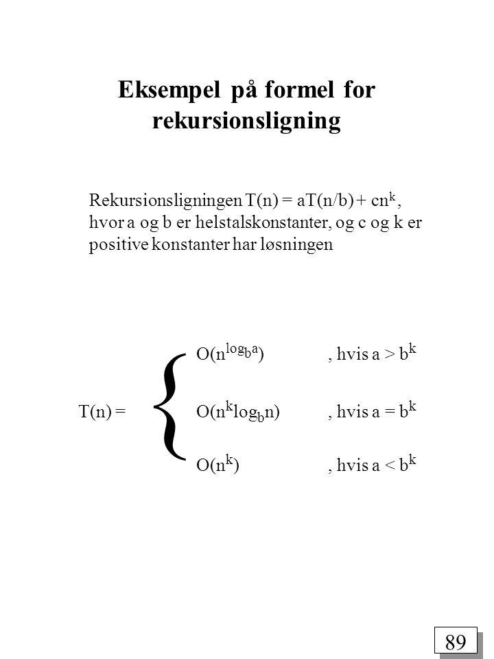 Eksempel på formel for rekursionsligning