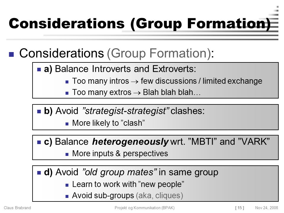Considerations (Group Formation)