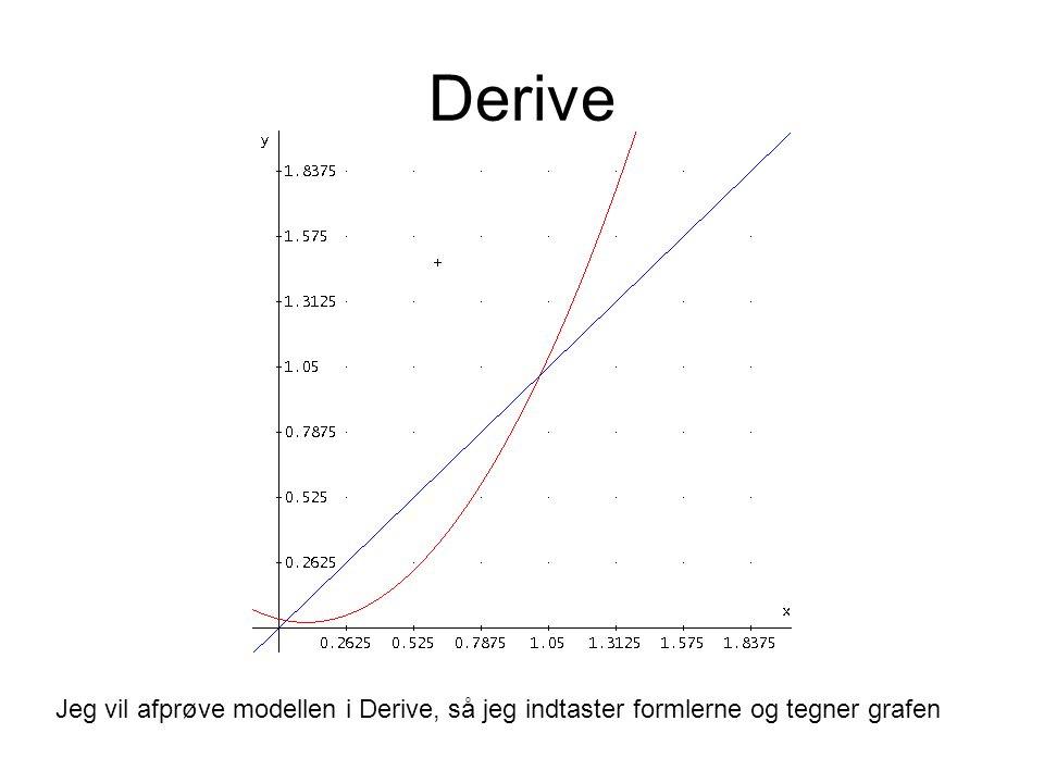 Derive Jeg vil afprøve modellen i Derive, så jeg indtaster formlerne og tegner grafen