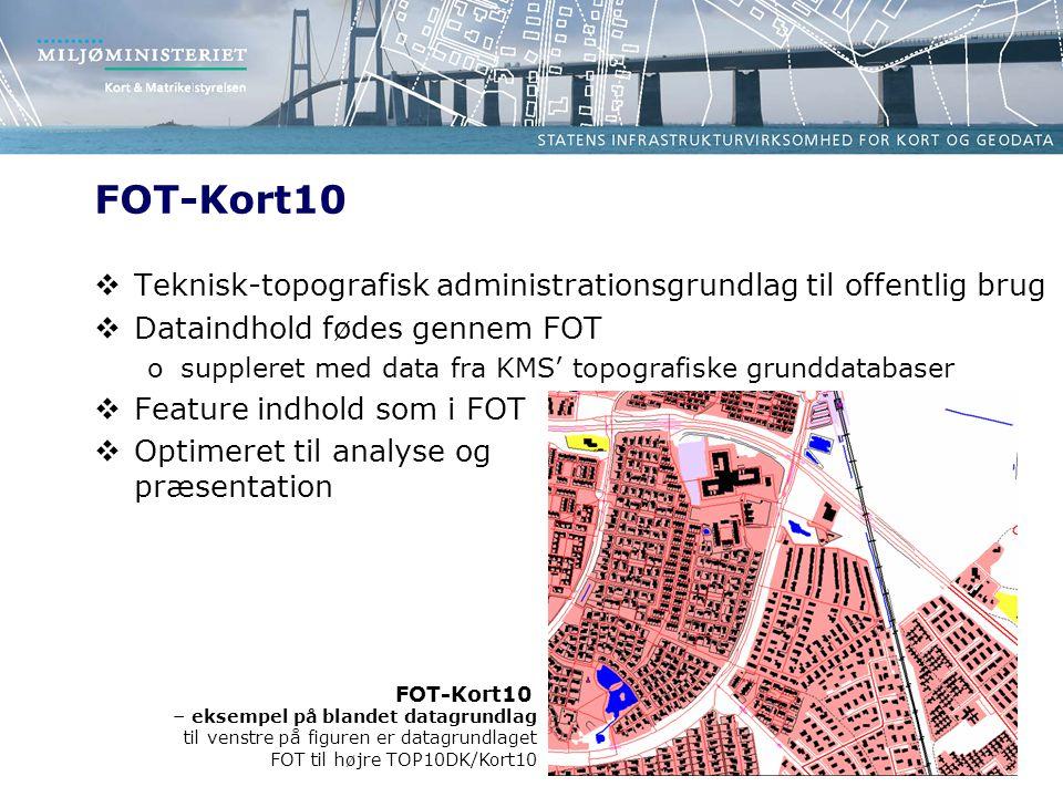 FOT-Kort10 Teknisk-topografisk administrationsgrundlag til offentlig brug. Dataindhold fødes gennem FOT.