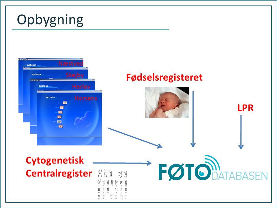 Opbygning Fødselsregisteret LPR Cytogenetisk Centralregister Næstved