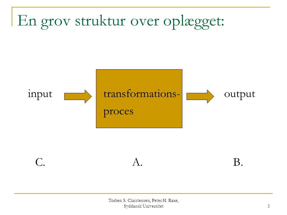 En grov struktur over oplægget: