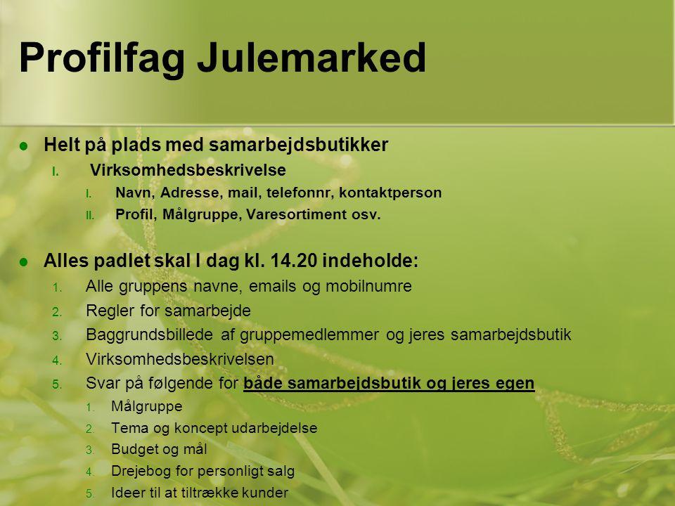 Profilfag Julemarked Helt på plads med samarbejdsbutikker