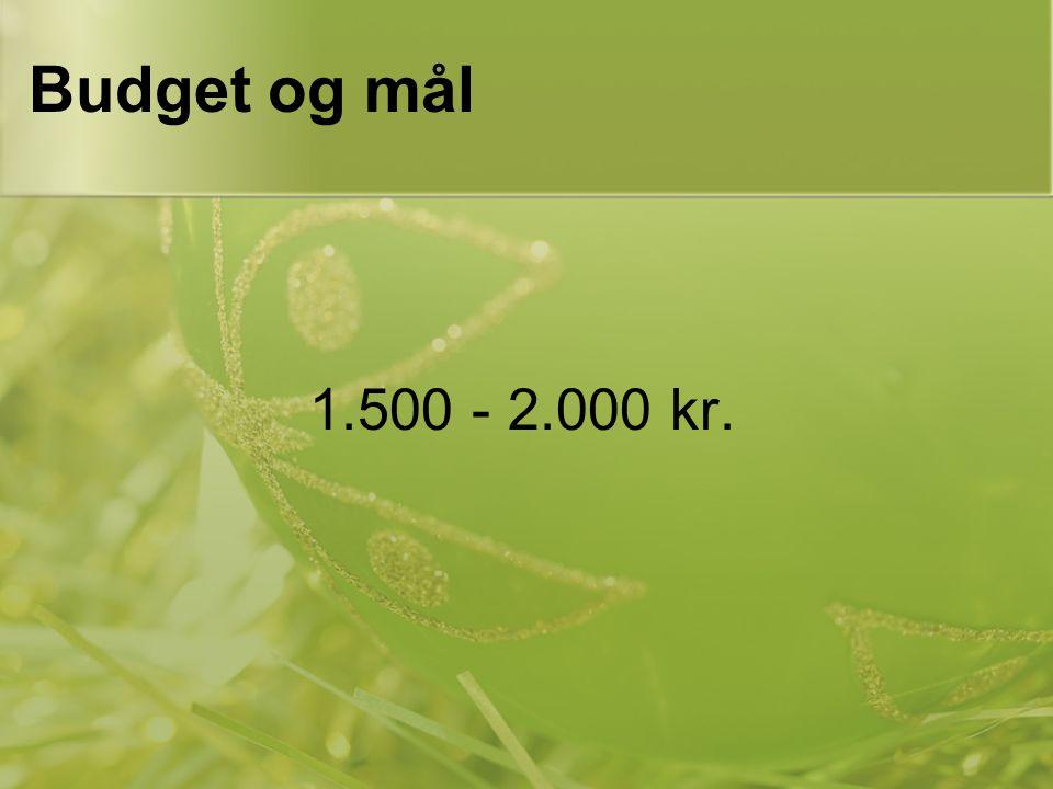 Budget og mål 1.500 - 2.000 kr.