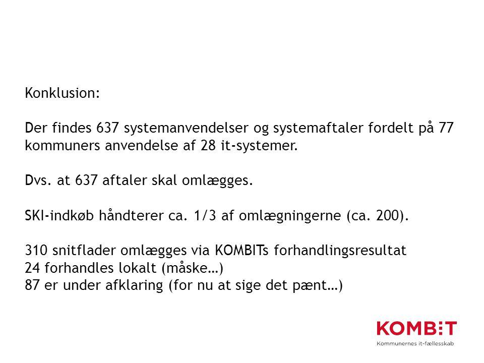 Konklusion: Der findes 637 systemanvendelser og systemaftaler fordelt på 77 kommuners anvendelse af 28 it-systemer.