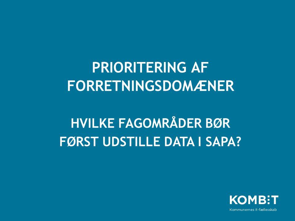 PRIORITERING Af forretningsdomæner hvilke fagområder bør først udstille data i SAPA
