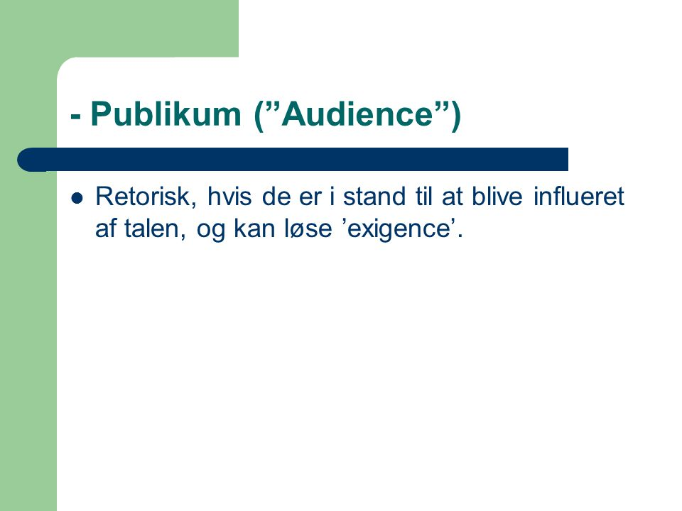 - Publikum ( Audience )