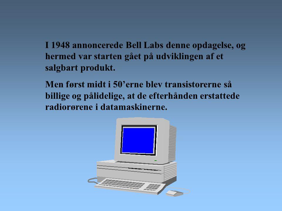 I 1948 annoncerede Bell Labs denne opdagelse, og hermed var starten gået på udviklingen af et salgbart produkt.
