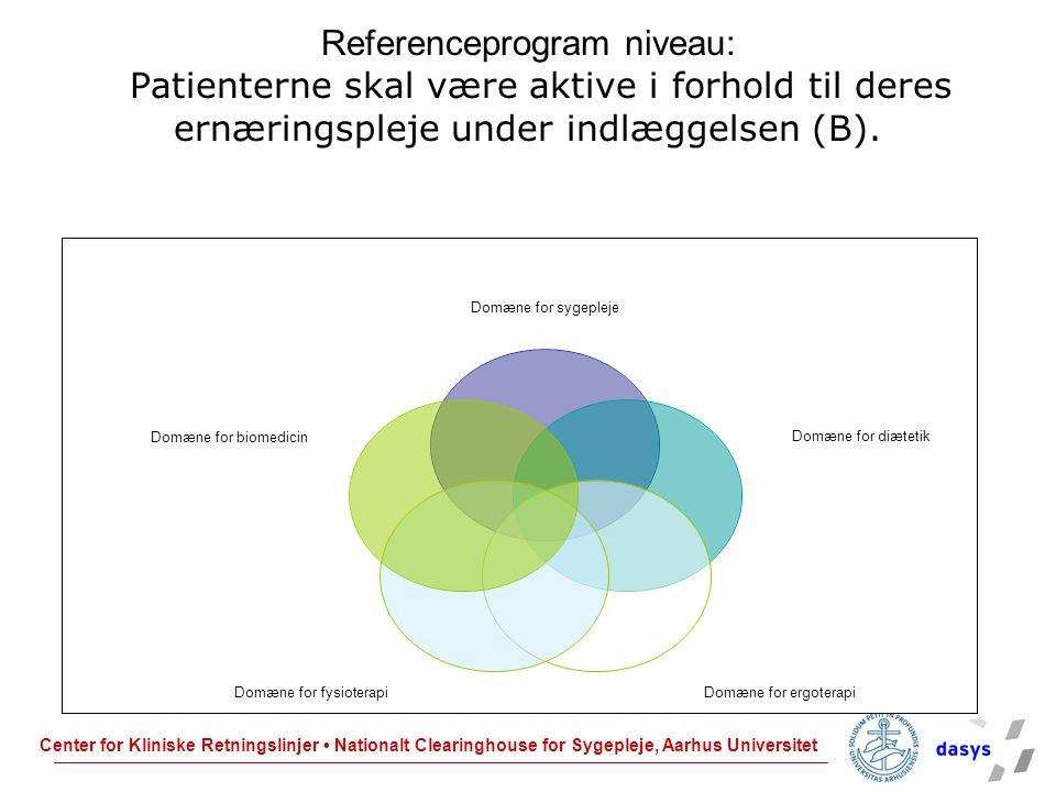 Referenceprogram niveau: Patienterne skal være aktive i forhold til deres ernæringspleje under indlæggelsen (B).