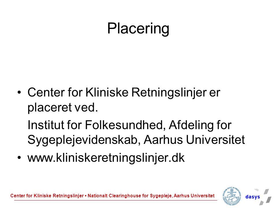 Placering Center for Kliniske Retningslinjer er placeret ved.