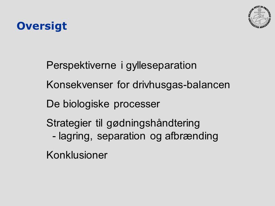 Oversigt Perspektiverne i gylleseparation. Konsekvenser for drivhusgas-balancen. De biologiske processer.