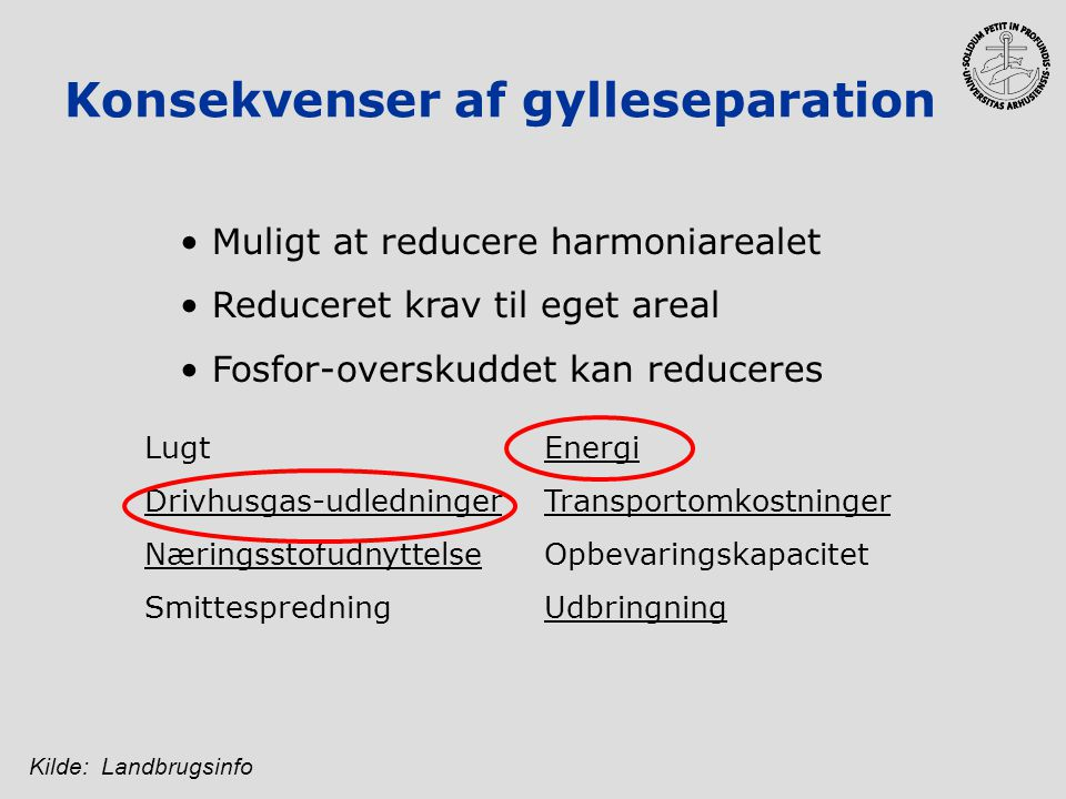 Konsekvenser af gylleseparation