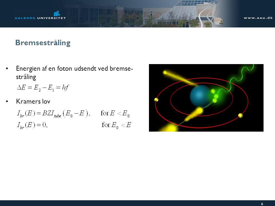 Bremsestråling Energien af en foton udsendt ved bremse-stråling