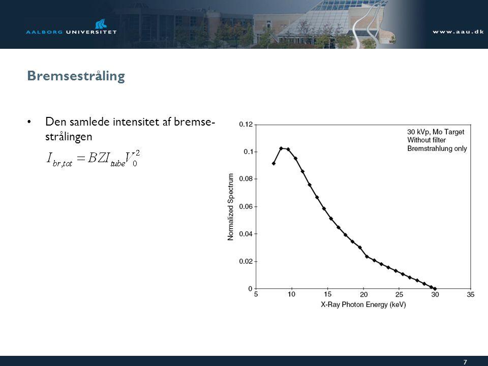 Bremsestråling Den samlede intensitet af bremse-strålingen