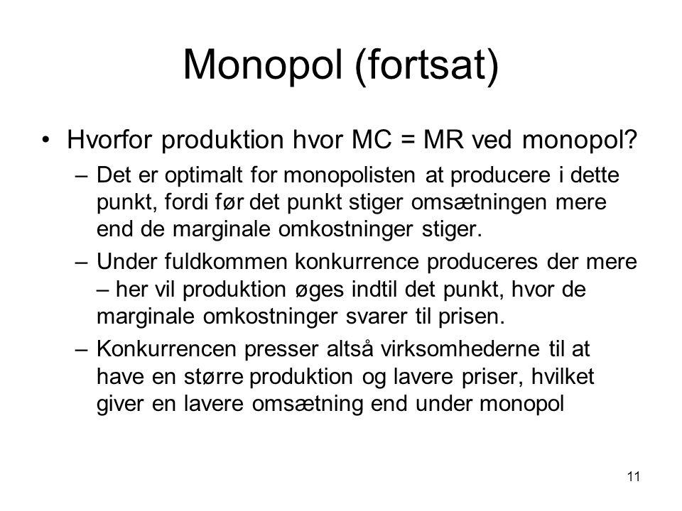 Monopol (fortsat) Hvorfor produktion hvor MC = MR ved monopol