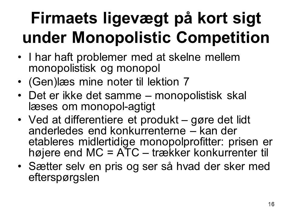 Firmaets ligevægt på kort sigt under Monopolistic Competition