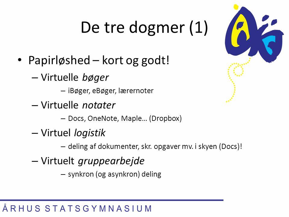 De tre dogmer (1) Papirløshed – kort og godt! Virtuelle bøger