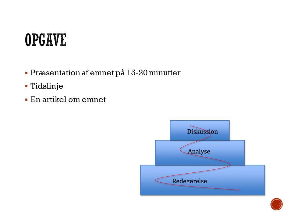 OPgave Præsentation af emnet på 15-20 minutter Tidslinje