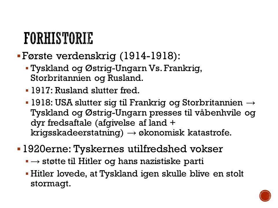 Forhistorie Første verdenskrig (1914-1918):