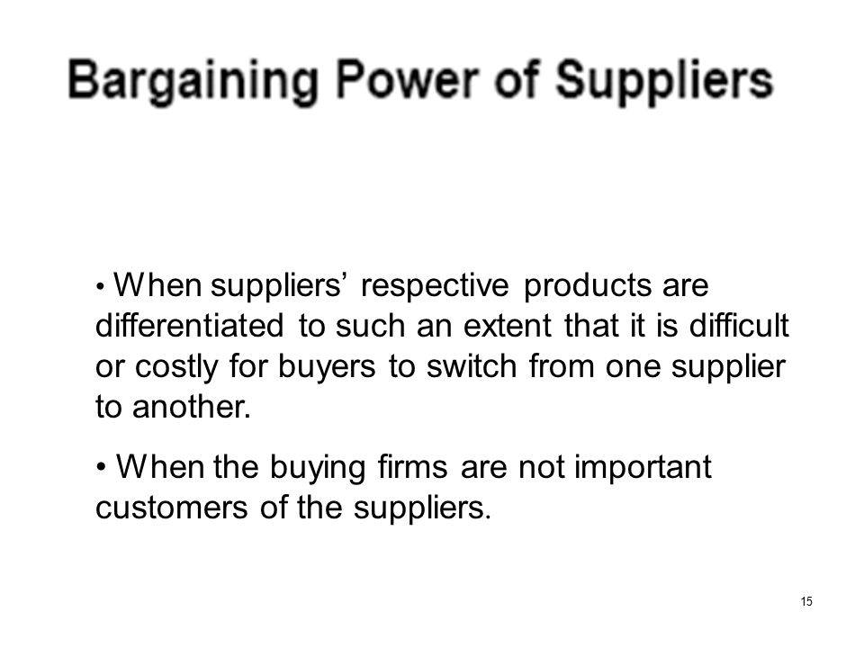 When the buying firms are not important customers of the suppliers.