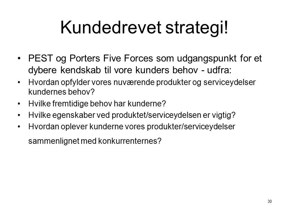 Kundedrevet strategi! PEST og Porters Five Forces som udgangspunkt for et dybere kendskab til vore kunders behov - udfra: