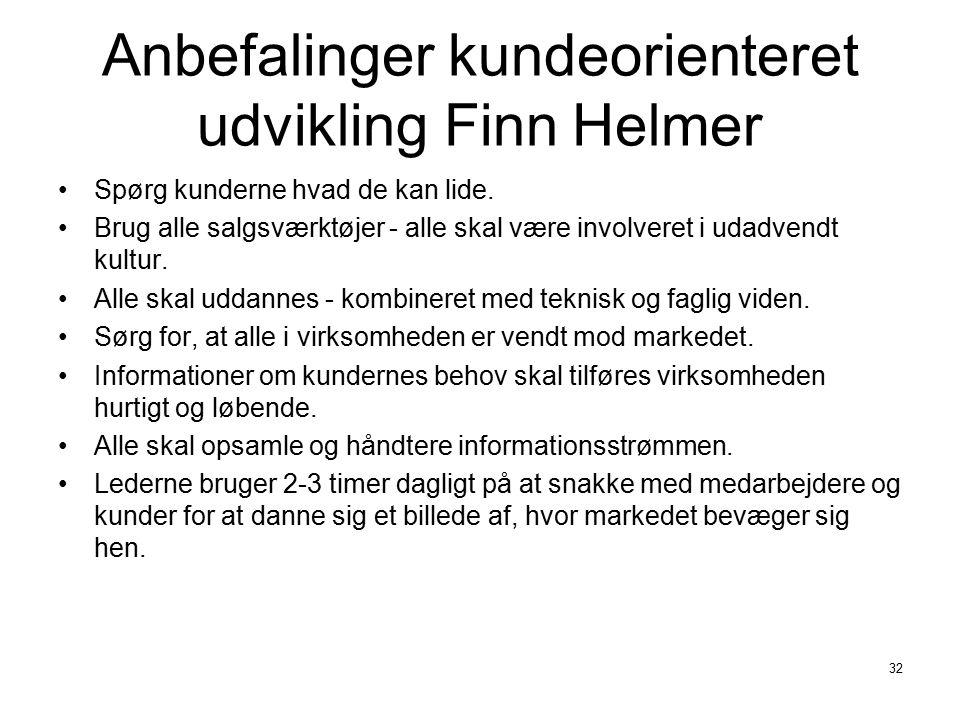 Anbefalinger kundeorienteret udvikling Finn Helmer