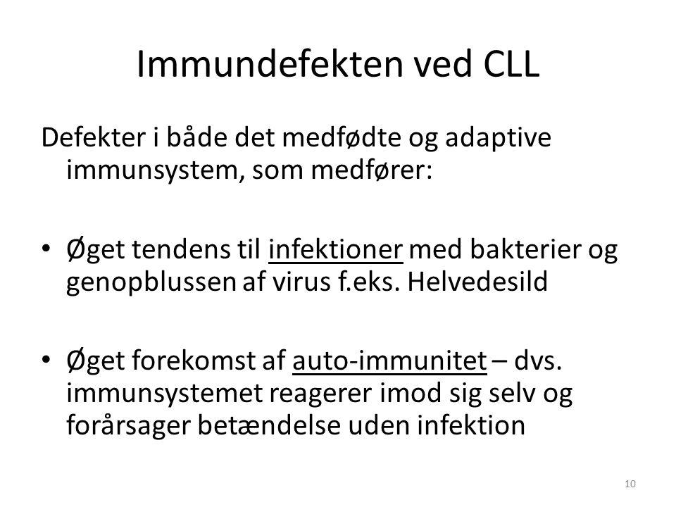 Immundefekten ved CLL Defekter i både det medfødte og adaptive immunsystem, som medfører: