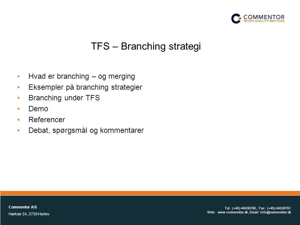 TFS – Branching strategi
