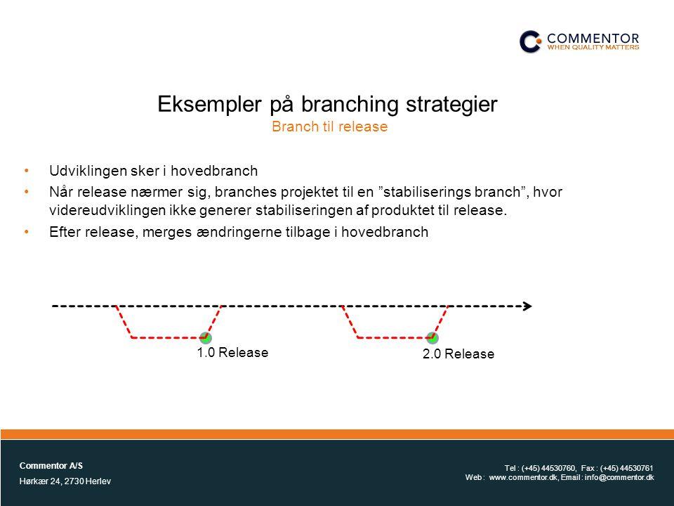 Eksempler på branching strategier Branch til release