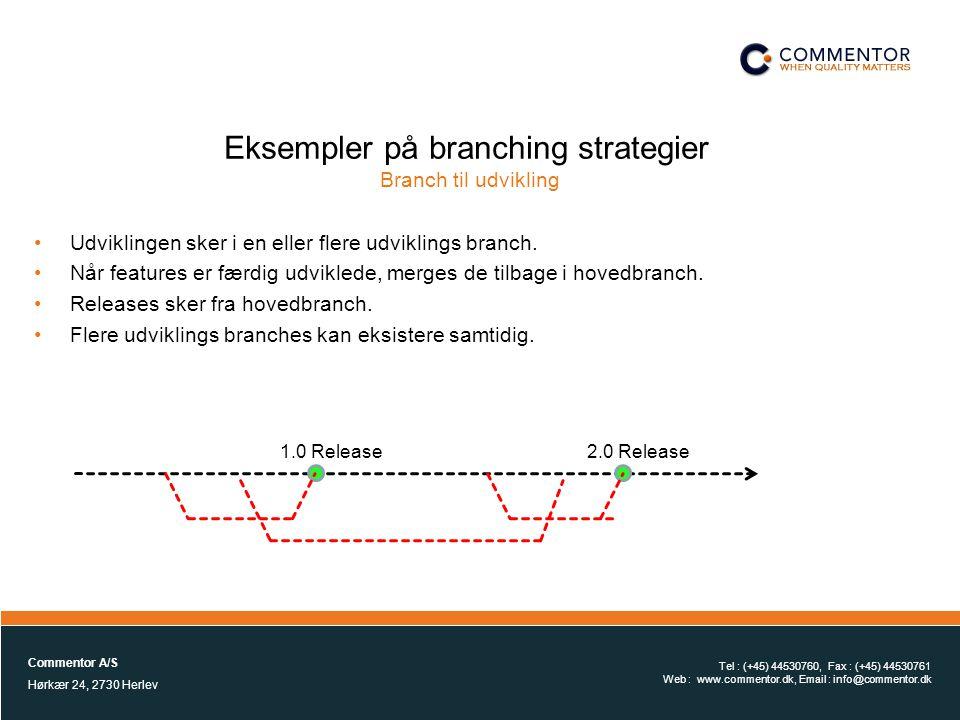 Eksempler på branching strategier Branch til udvikling