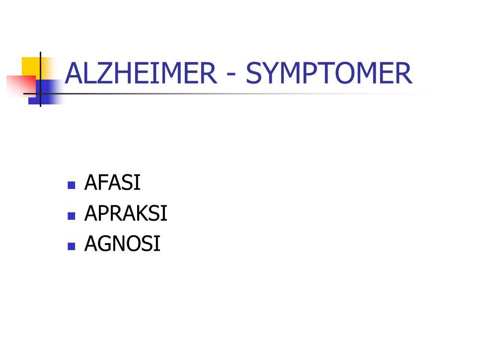 ALZHEIMER - SYMPTOMER AFASI APRAKSI AGNOSI