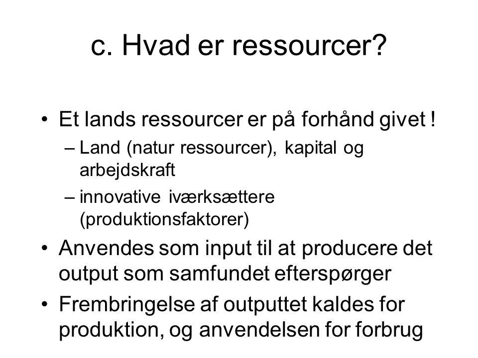 c. Hvad er ressourcer Et lands ressourcer er på forhånd givet !