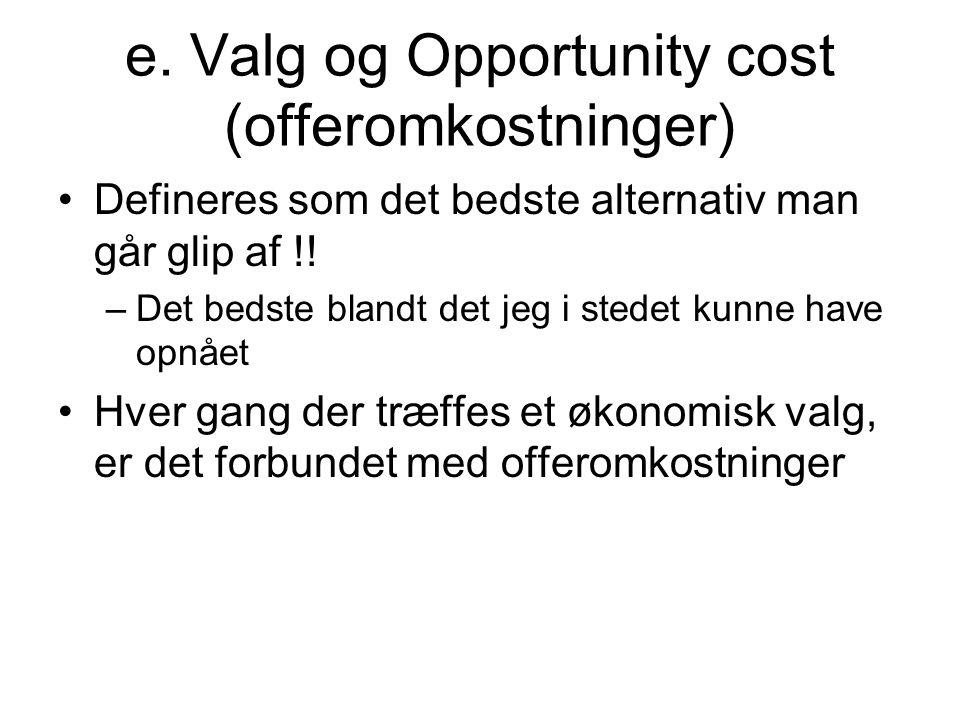 e. Valg og Opportunity cost (offeromkostninger)