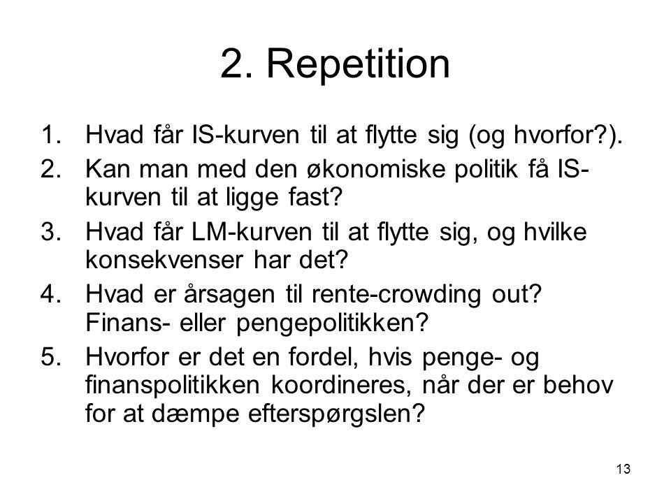 2. Repetition Hvad får IS-kurven til at flytte sig (og hvorfor ).