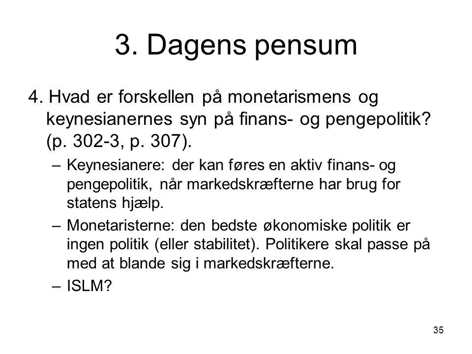 3. Dagens pensum 4. Hvad er forskellen på monetarismens og keynesianernes syn på finans- og pengepolitik (p. 302-3, p. 307).