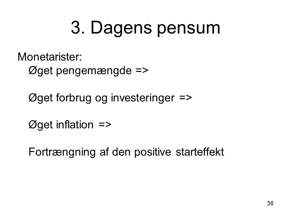 3. Dagens pensum Monetarister: Øget pengemængde =>