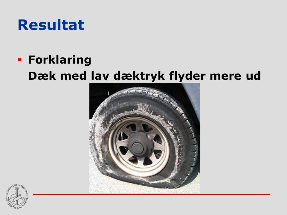 Resultat Forklaring Dæk med lav dæktryk flyder mere ud